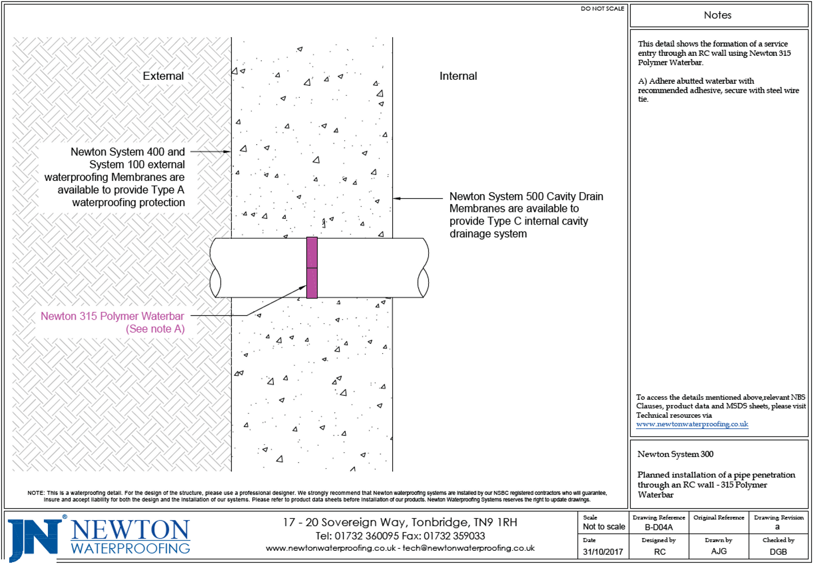 Technical Drawing of Newton System 300 pipe penetration with waterbar