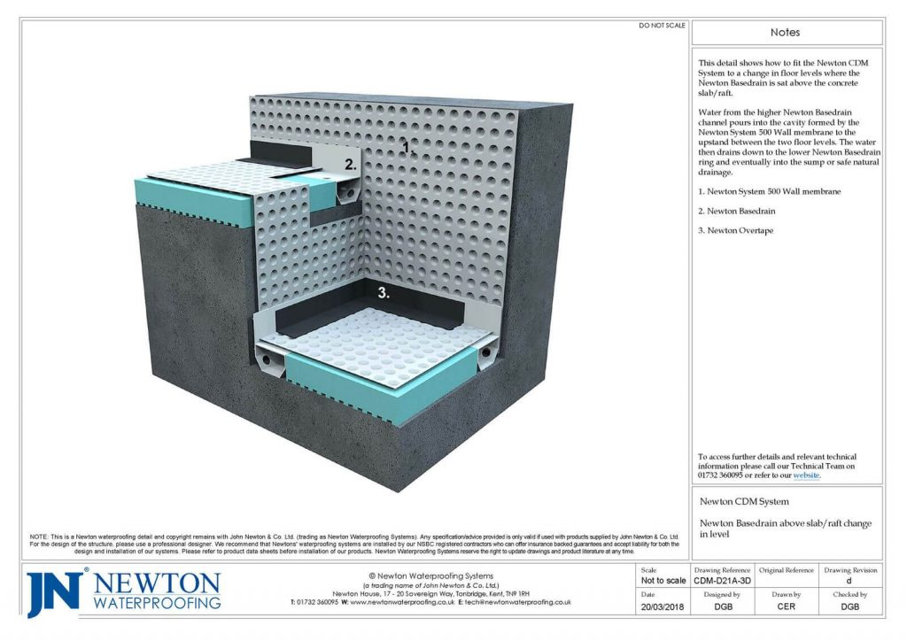 Technical Drawing of Newton Basedrain above a slab