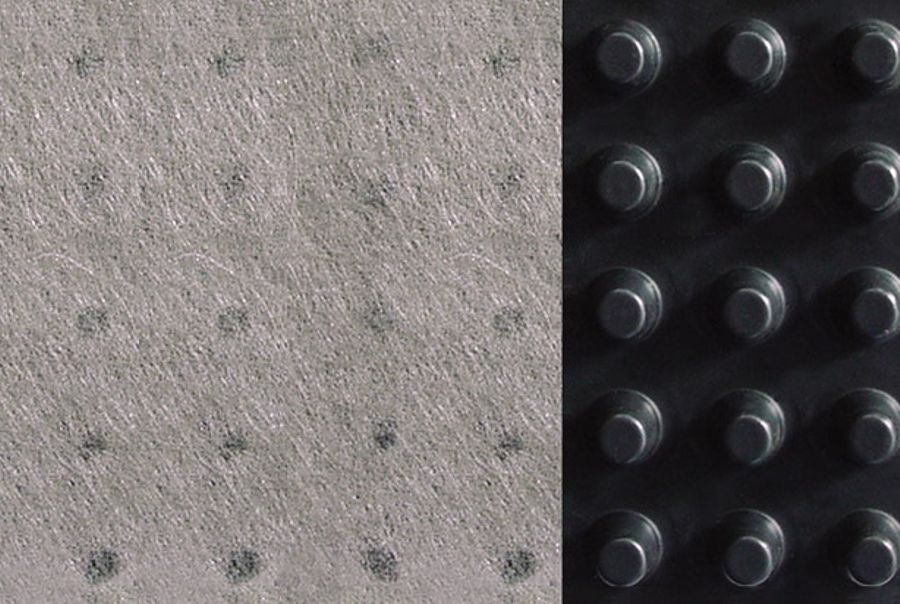 Detail of Newton 410 GeoDrain Drainage Membrane