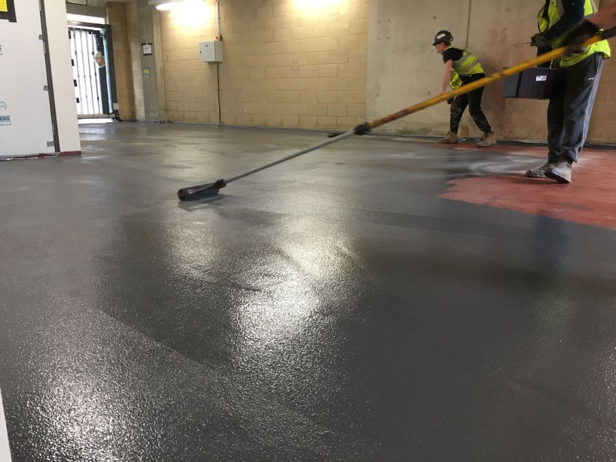 Application of high build epoxy floor coating by roller