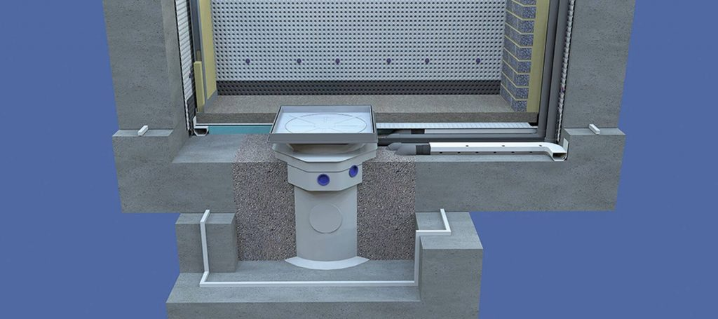 3D drawing showing a Type C waterproofing system with insulation