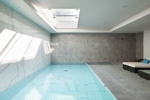 Basement with a swimming pool