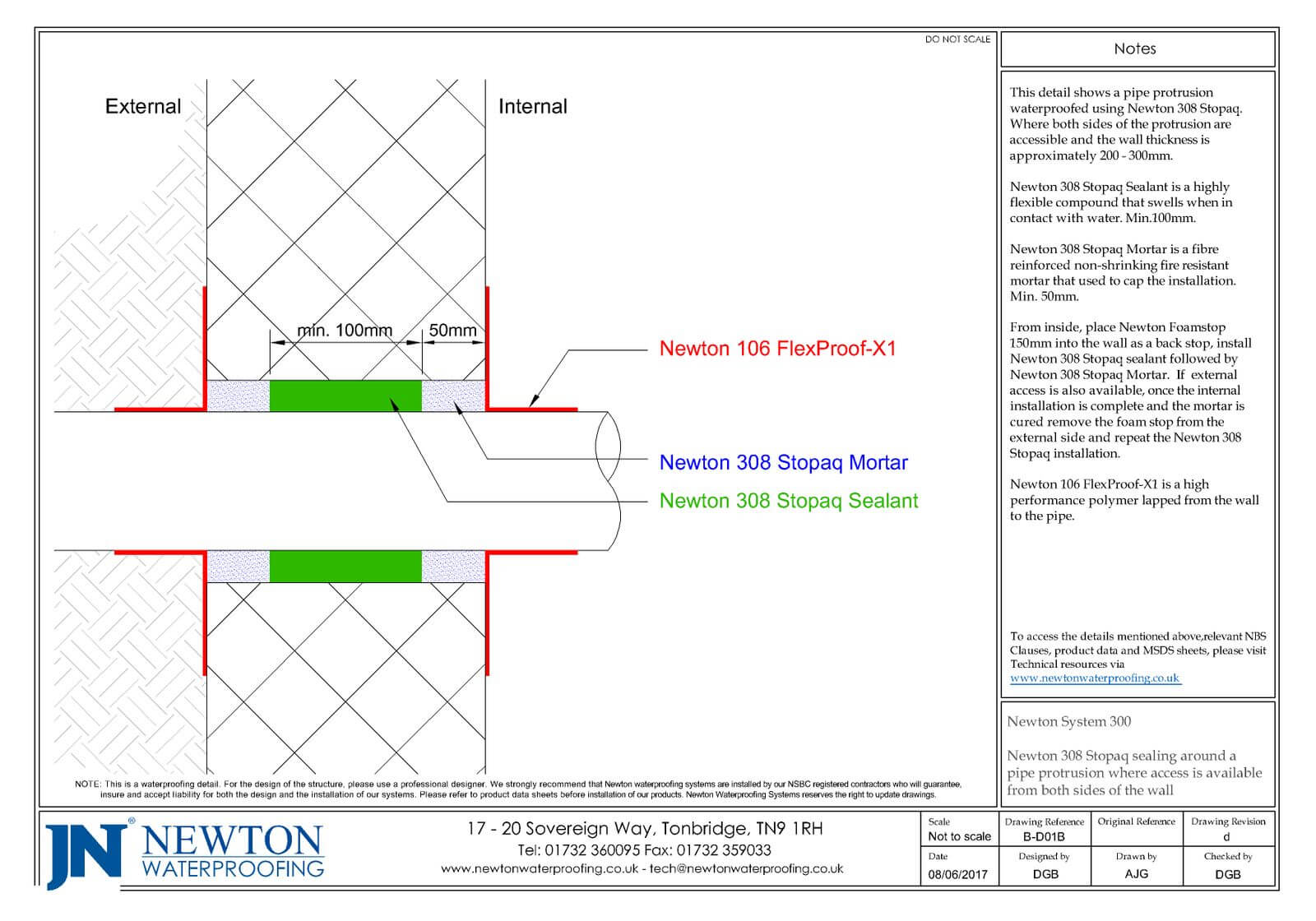 Technical Drawing - Newton 308 Stopaq sealing around a pipe protrusion
