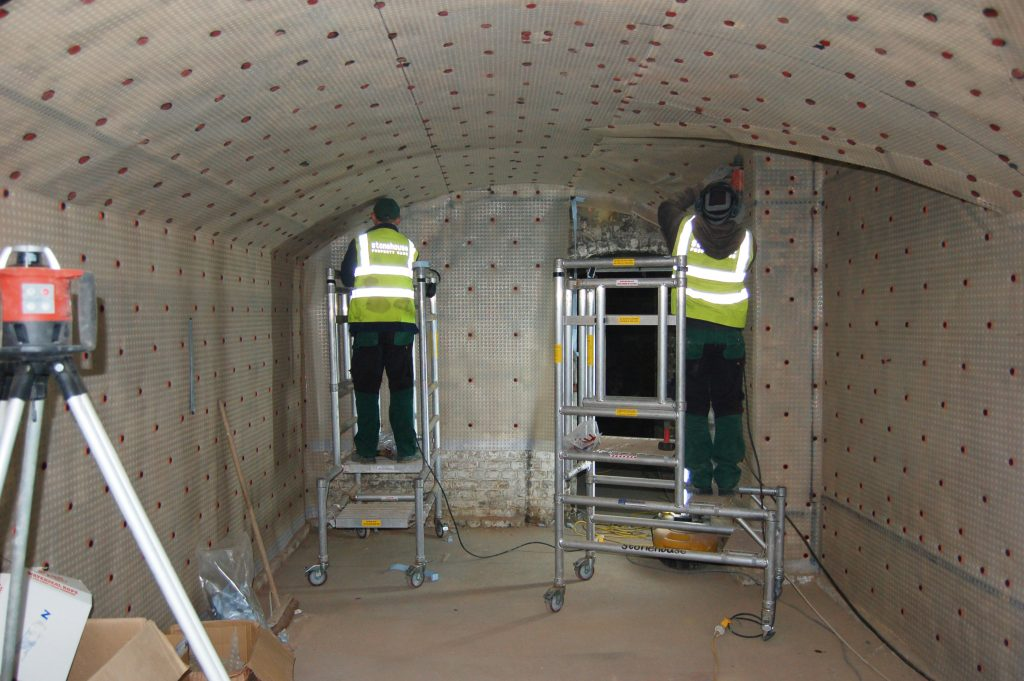 Newton Membrane Being Installed To Vaults