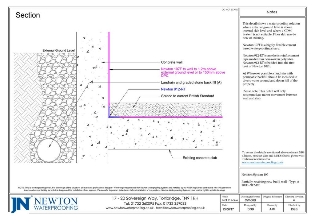 Technical Drawing - partially retaining new-build wall