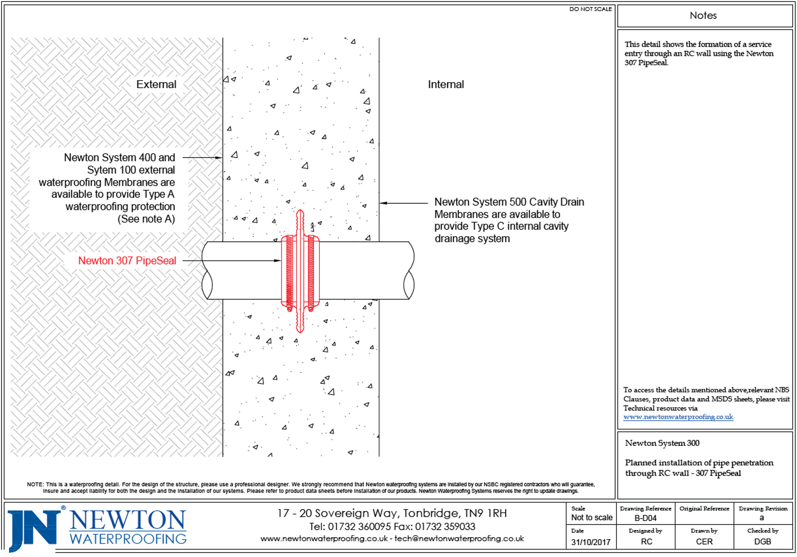 Newton Technical Drawing of a pipe penetration through RC wall