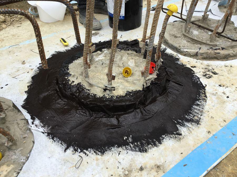 Rubber waterproofing membrane application