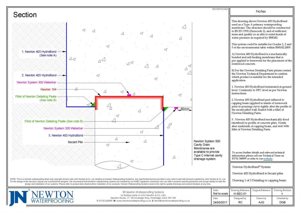 Technical Drawing - Newton 403 HydroBond to Secant piles