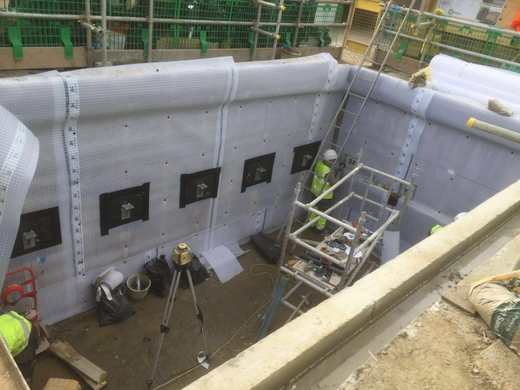 Installation of Newton Cavity Drain Membranes
