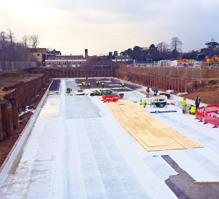 Newton HydroBond waterproofing membrane applied to a large new housing development
