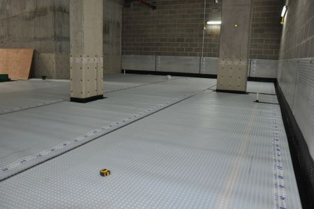 Newton System 500 wall and floor membranes installed