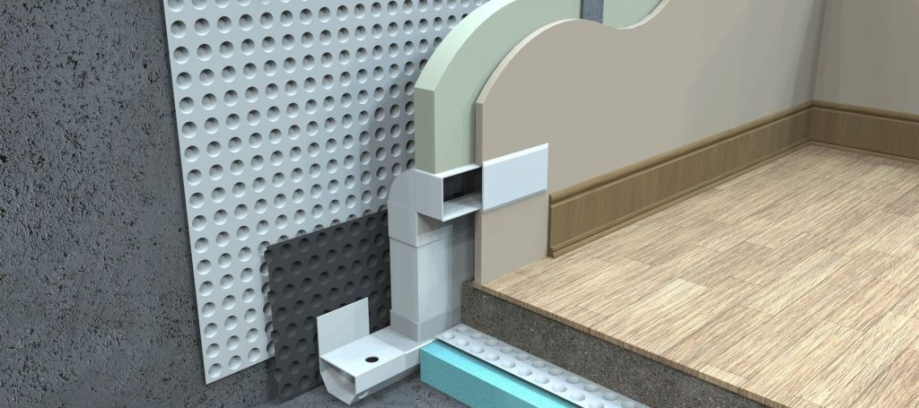 3D drawing of a cavity drain waterproofing system