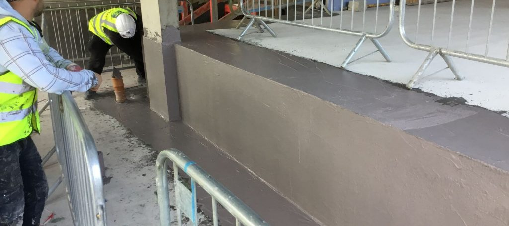 Application of liquid waterproofing membranes