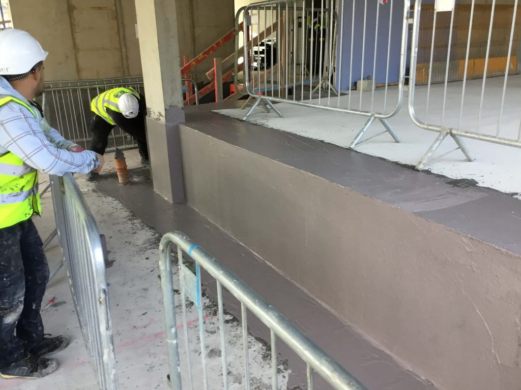 Spray Application Of Newton Cementitious Waterproofing Membrane