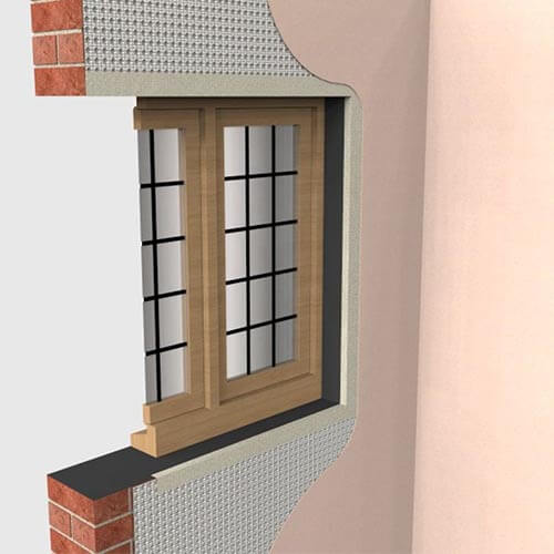 3d drawing showing a wall section with Newton damp proof membrane