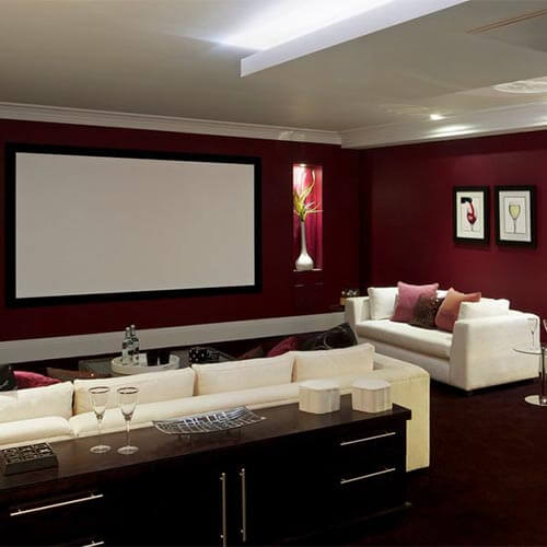 Basement converted into a cinema room