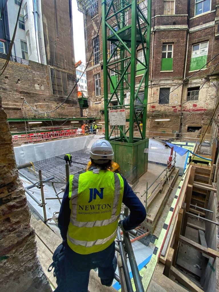 Examining the application of Newton 403 HydroBond to the new concrete attenuation tank in Cambridge House Building 2