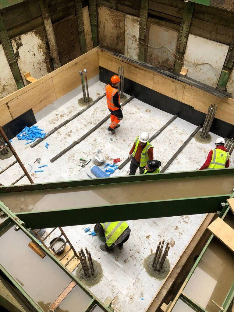 Installing 403 HydroBond prior to a concrete slab install